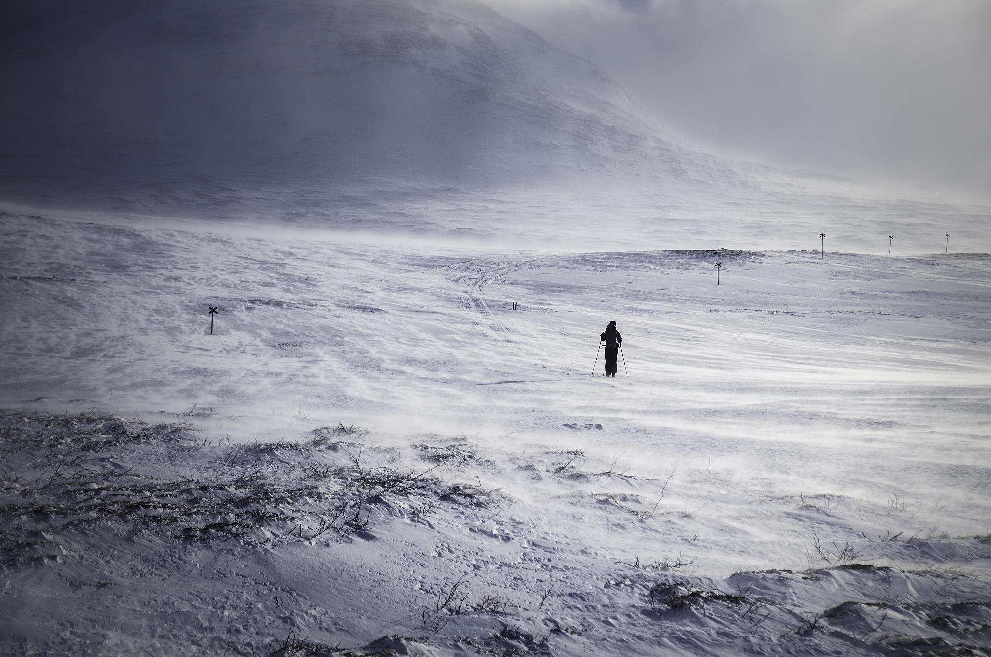 en skidåkare på väg mot sylarnas fjällstation.