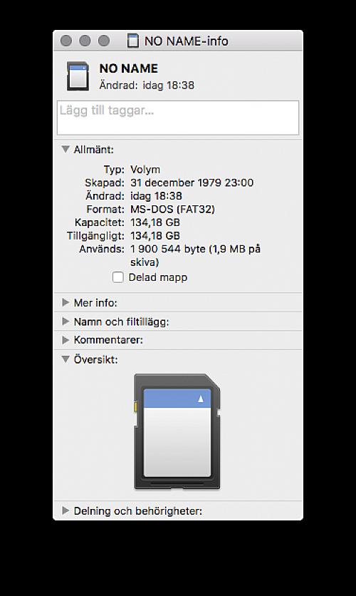 52489a16054b 134 gigabyte. När vi tittar på Kimsnot-kortet i en Mac så ser vi att kortet  har en kapacitet på hela 134 gigabyte. Eller – det är den information som  ...