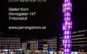 Utställningsaffisch Stockholm after dark - bild av Sergels torg i mörker