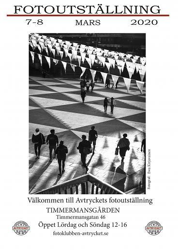 Uställningsaffisch Fotoklubben Avtrycket 7-8 mars