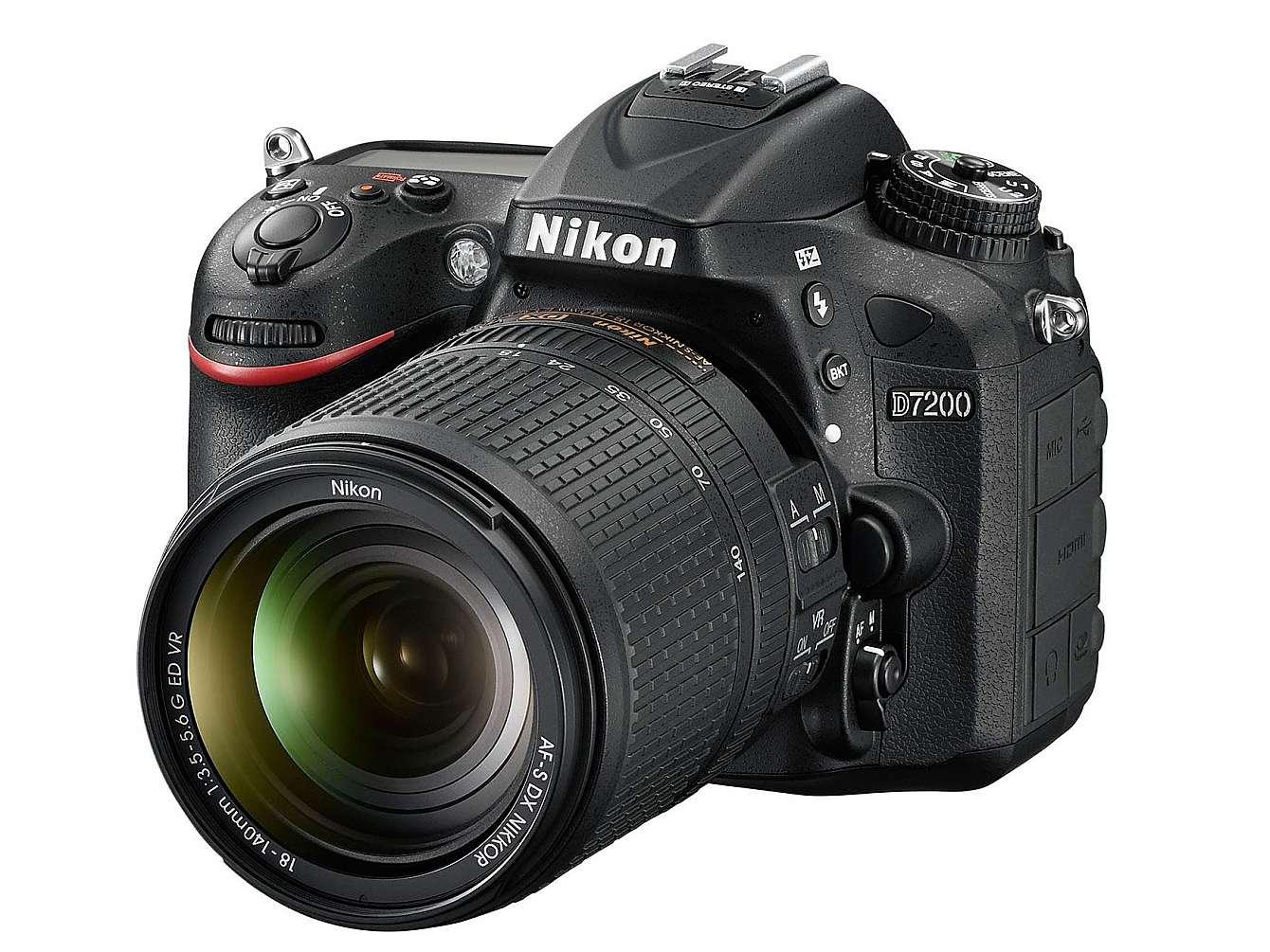 Framsidan av Nikons nya D7200.