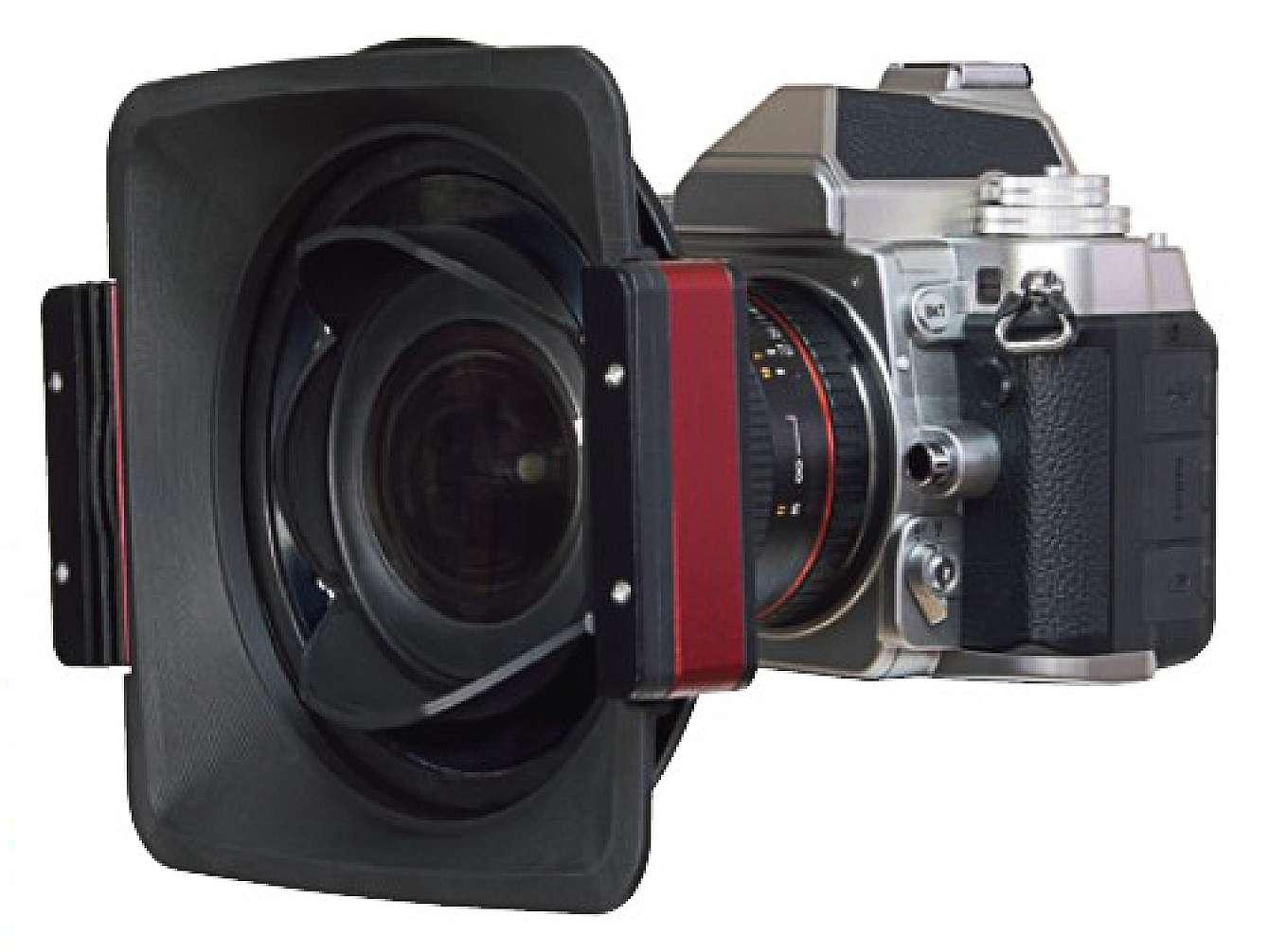 En filterhållare monterad på en kamera