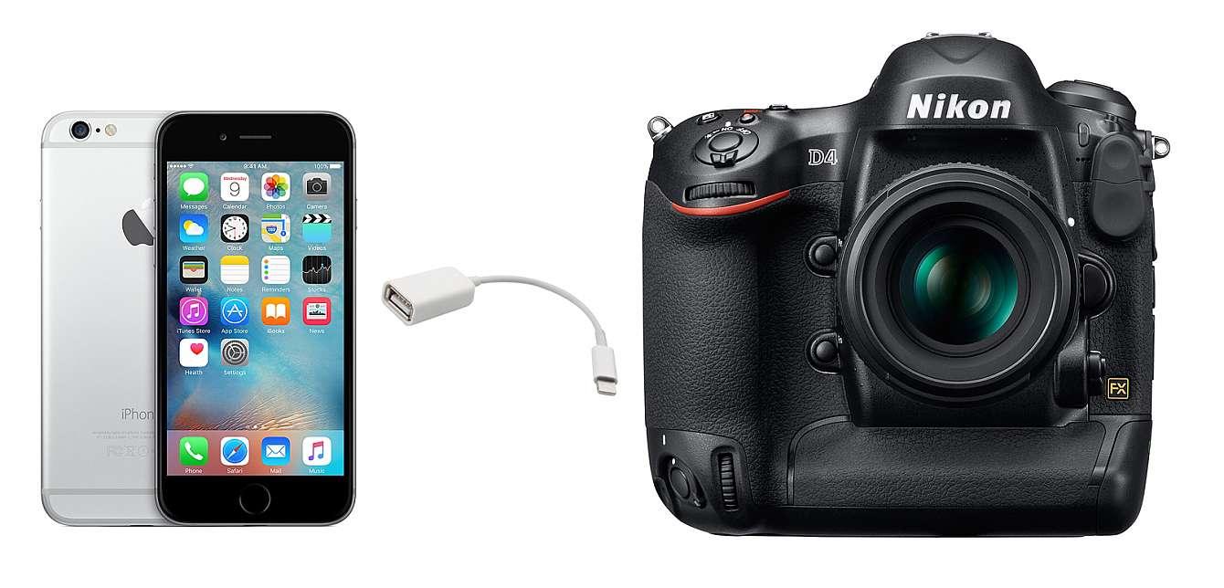 Iphone 6s med en usb-adapter och en Nikon D4
